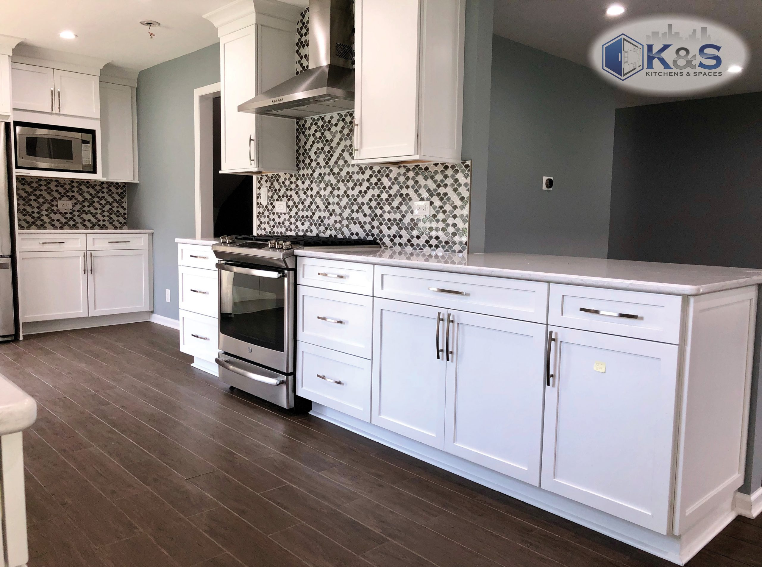 Completed white transitional kitchen remodel
